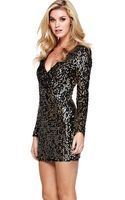Ax Paris Ax Paris Sequin Wrap Dress - Lyst