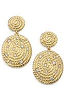 David Yurman Diamond 18k Gold Coil Drop Earrings - Lyst