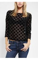 Urban Outfitters Cooperative Burn Out Polka Dot Blouse - Lyst