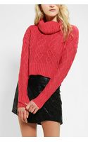 Urban Outfitters Pins and Needles Cableknit Cropped Turtleneck Sweater - Lyst