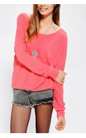 Urban Outfitters Pink Sparkle Fade Cutoff Cozy Drop Shoulder Top - Lyst