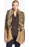 Michael by Michael Kors Faux Fur Collar Open Cardigan - Lyst