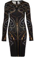 McQ by Alexander McQueen Black Zip Print Dress - Lyst
