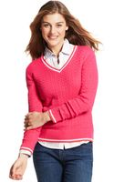 Tommy Hilfiger Long Sleeve Cable-Knit V-Neck - Lyst