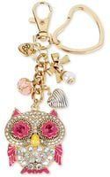 Betsey Johnson Goldtone Crystal Accent Owl Charm Key Chain - Lyst
