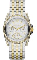 Michael Kors Midsize Twotone Stainless Steel Preseley Glitz Watch - Lyst