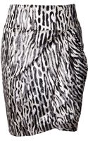 Giambattista Valli Zebra Print Draped Skirt - Lyst