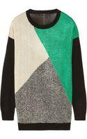 Tibi Intarsia Metallic Knitted Sweater - Lyst