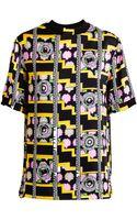 Versus  Floral Printed Oversized Silk Tshirt - Lyst