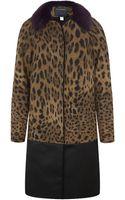 Class Roberto Cavalli Fur Collar Leopard Print Coat - Lyst