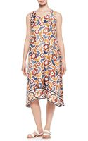 Eskandar Printed Pleated Sleeveless Dress Marblemulti - Lyst