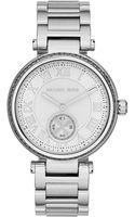 Michael Kors Midsize Silver Color Skylar Twohand Glitz Watch - Lyst