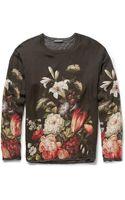 Dolce & Gabbana Oversized Jerseylined Printed Silk Tshirt - Lyst