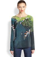 Akris Punto Silk Surfer Print Blouse - Lyst