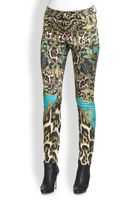 Just Cavalli Printed Satinfinish Skinny Pants - Lyst