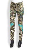 Just Cavalli Printed Satinfinish Skinny Pants - Lyst