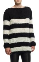 Saint Laurent Mens Striped Mohairblend Sweater - Lyst