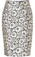 Burberry London Silk Blend Skirt in Black White Lace Optic - Lyst