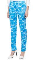 Michael Kors Samantha Pool-print Duchesse Skinny Pants - Lyst