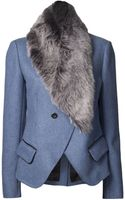Vanessa Bruno Double Breasted Fur Trim Jacket - Lyst