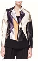 3.1 Phillip Lim Shimmery Color-block Leather Biker Jacket - Lyst