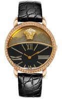 Versace Dualdial Leatherstrap Watch Blackrose Golden - Lyst