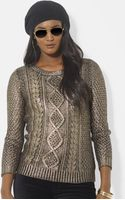 Lauren by Ralph Lauren Metallic Cable Knit Sweater - Lyst