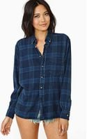 Nasty Gal After Party Tried and True Flannel Navy - Lyst