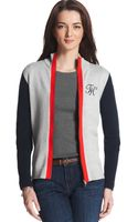 Tommy Hilfiger Long Sleeve  Colorblocked Cardigan - Lyst