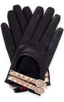 Valentino Bucklestrap Studded Leather Gloves - Lyst