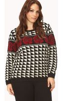 Forever 21 Quirky Geo Rose Sweater - Lyst