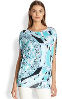 Emilio Pucci Printed Jersey Poncho Top - Lyst