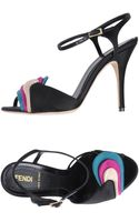 Fendi High-Heeled Satin Sandals - Lyst