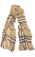 Burberry Shoes & Accessories Checked Wool and Silkblend Scarf - Lyst