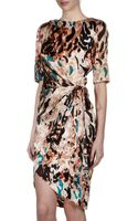 Rachel Roy Printed Faux Wrap Silk Dress Blackmulticolor 0 - Lyst
