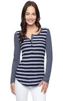 Splendid Mix Stripe Thermal Henley - Lyst