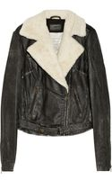 Current/Elliott The Shearling Biker Leather Jacket - Lyst
