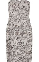 Hervé Léger Beaded Rose Print Strapless Bandage Dress - Lyst