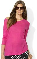 Lauren by Ralph Lauren Petite Three quarter sleeve Scoopneck Top - Lyst