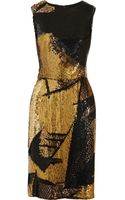 Oscar de la Renta Sequined Silk Sheath Dress - Lyst