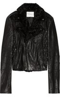 Balmain Shearling trimmed Leather Biker Jacket - Lyst