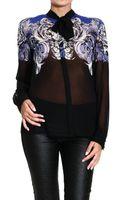 Roberto Cavalli Shirt Silk Chiffon with Danae Print Bow - Lyst