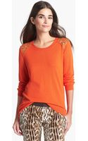 Michael by Michael Kors Studded Shoulder Crew Neck Sweater - Lyst