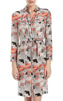 Cacharel Printed Belted Shirtdress Grayblackred - Lyst