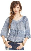 Free People Threequartersleeve Printed Peasant Top - Lyst