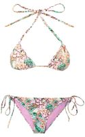 Matthew Williamson Escape Flamingo Bay Print Triangle Bikini - Lyst