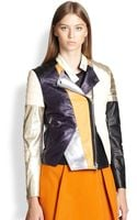 3.1 Phillip Lim Colorblock Leather Biker Jacket - Lyst