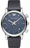 Emporio Armani Stainless Steel and Leather Watch - Lyst