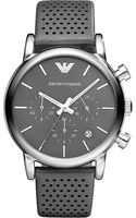 Emporio Armani Stainless Steel and Leather Watch Gunmetalgray - Lyst