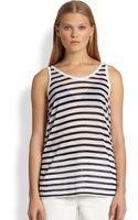 T By Alexander Wang Striped Scoopback Jersey Tank - Lyst